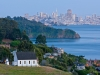 Old St. Hillary's Church, Tiburon, with Angel Island, Alcatraz and and San Francisco in Background