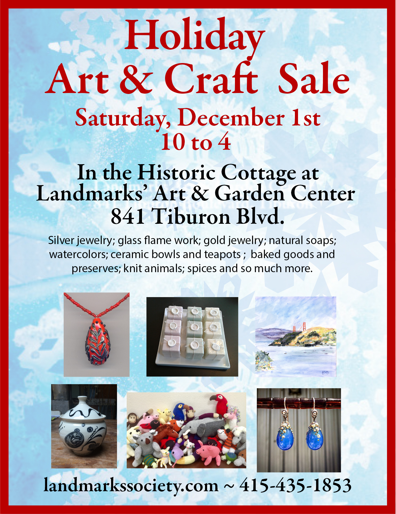 Holiday Art Craft Sale Belvedere Tiburon Landmarks Society